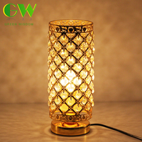 Modern K9 Crystal Table Lamps for Home Bedside Bedroom Silver Gold Night Light With Free E27 LED Bulb