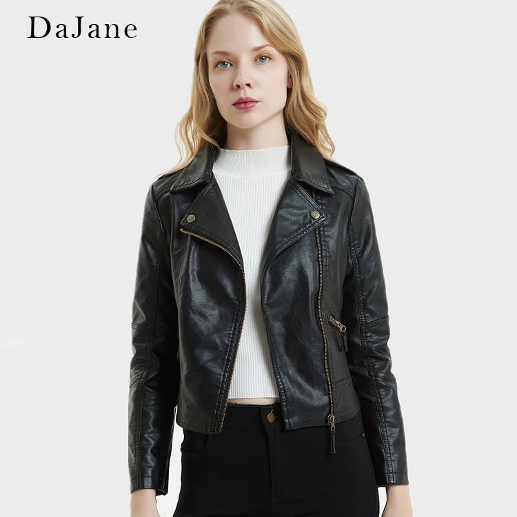 DaJane   Leather   Women Short Slim Lapel PU Washed   Leather   women's Motorcycle Jacket Korean Version Of The Small Jacket