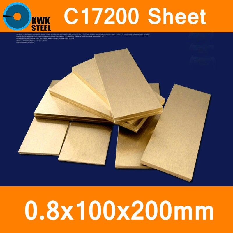 Placa de Folha de Bronze de Berílio Material do Molde de Corte a Laser Toct Bpb2 nc Frete Grátis 0.8*100*200mm C17200 Cube2 Cb101