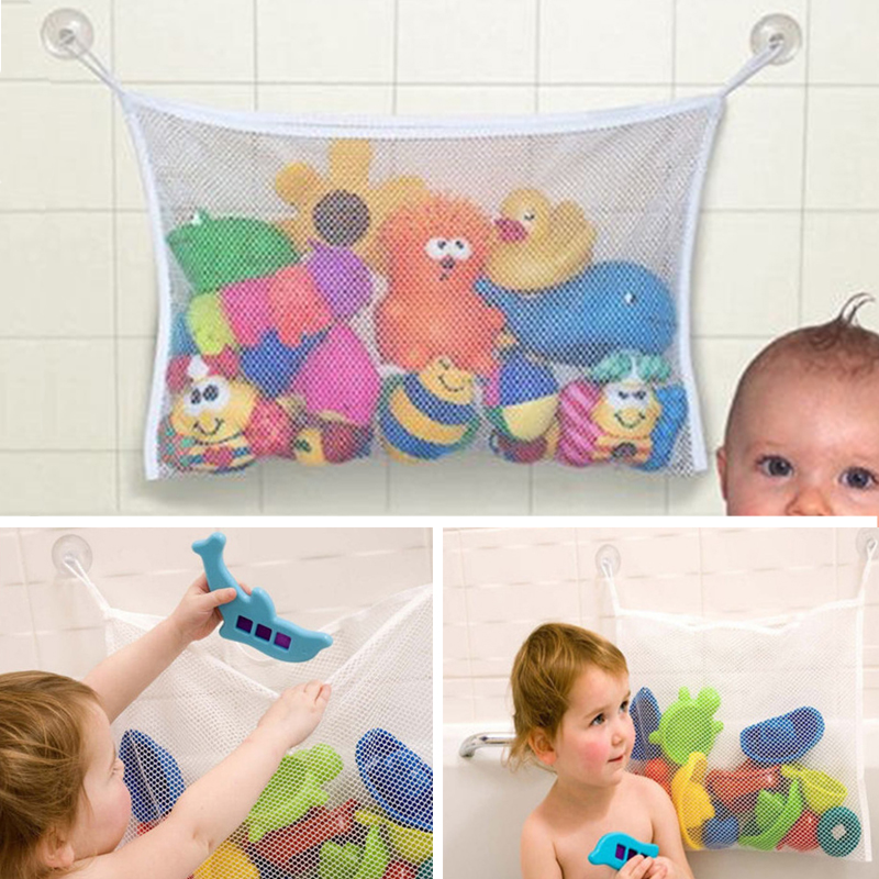 Baby Bath Net Suction Storage Folding Hanging Mesh Net Bag Infant Bathroom Bath Tub Toys Kids Storage Bath Accessories