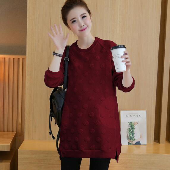 2018 Autumn Winter 3D Dot Cotton Maternity Shirts Tops Clothes for Pregnant Women Long Sleeve Pregnancy Hoodie Tunic DW807 1