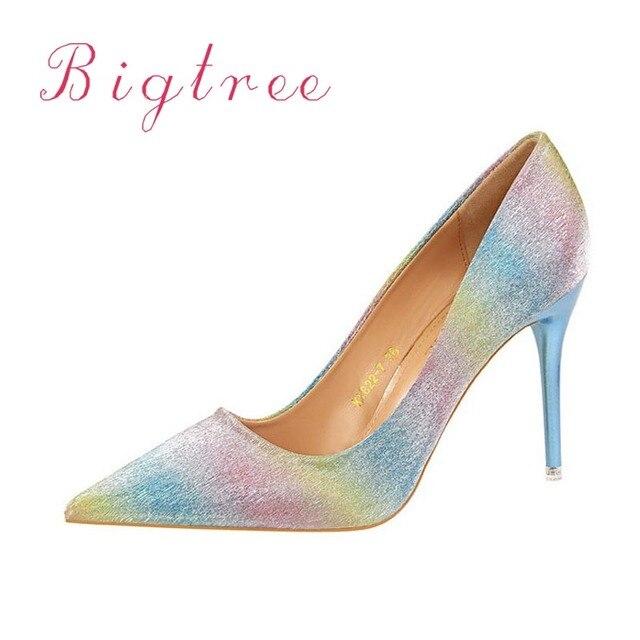 2f3d297bb5b Women Shoes Fashion PU Women Pumps Pointed Toe Rainbow Colour Shoes Fahsion Woman  Wedding Party High Heels Black Gold Silver