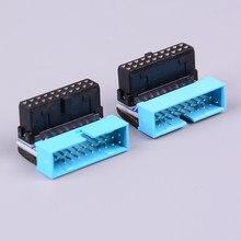 Usb3.0 19 p 20 p conector macho de 90 graus placa-mãe chassi assento dianteiro conector expansão