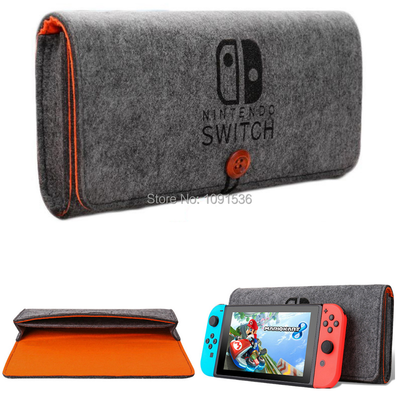 Storage Bag For Nintendos Switch Console Pika Case Durable Carrying Case For Nintend NS Switch Game Console Felt Bag Grey Black
