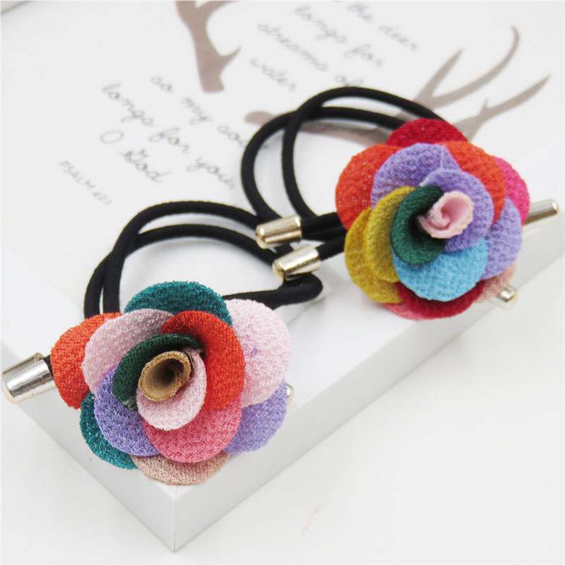 1PCS Color Rose Flower Elastic Hair Bands For Girl Bohemian Bow Headband Scrunchy Korean Fashion Kids Hair Accessories For Women