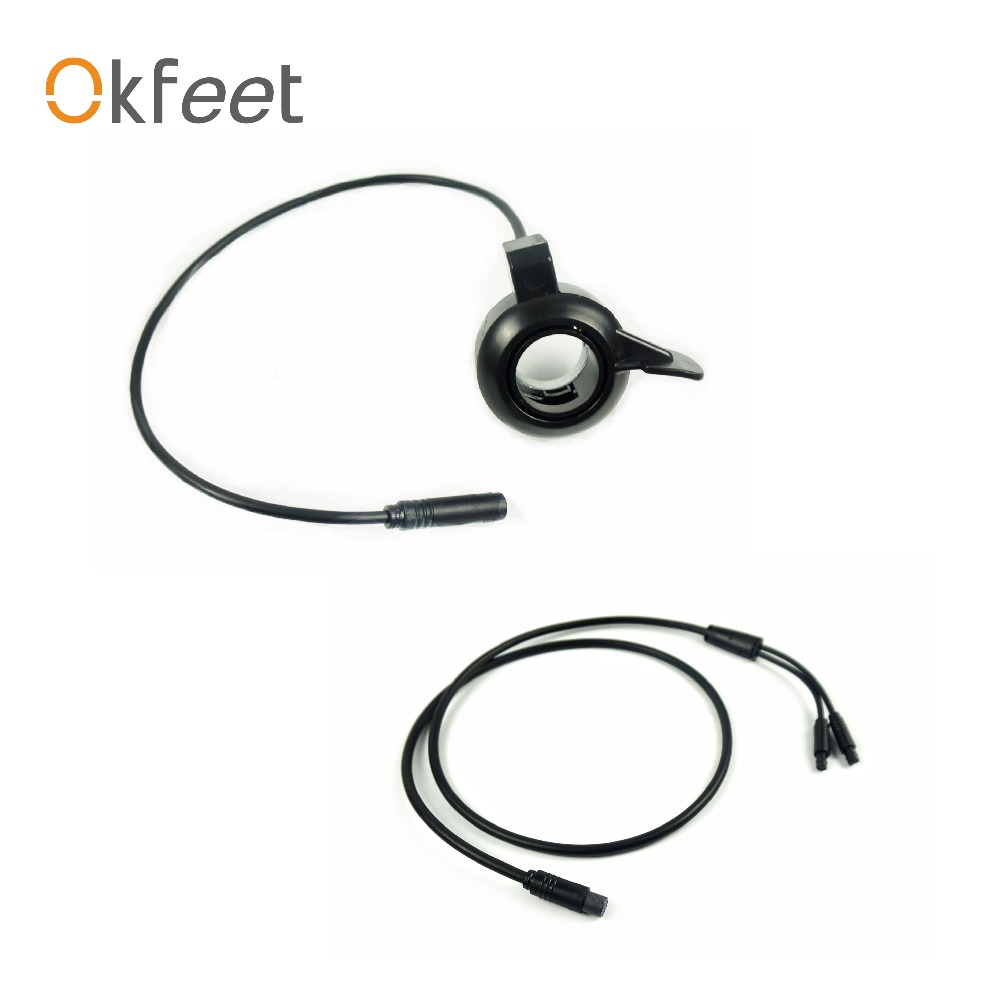 Okfeet eBIKE TSDZ 2 Thumb Throttle and 1to2 cable set Electric Bicycle PartSpeed Throttle for VLCD6 XH18