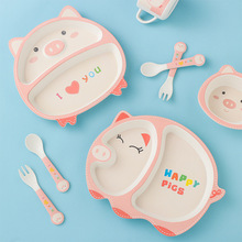 5PCS/Sets Baby Dish Tableware Set Cartoon Fork Feeding Dishes for Kids Utensils Natural Bamboo Fiber Bowl With Cup Spoon Plate