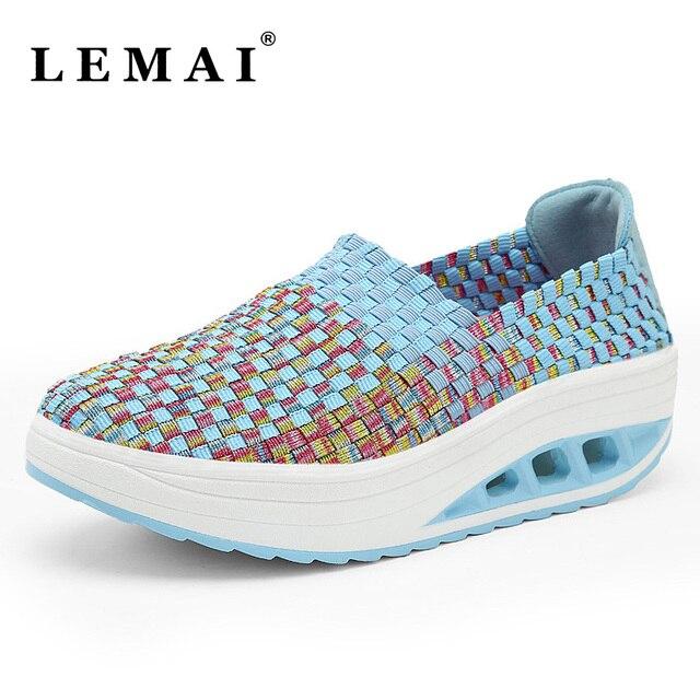 Women Running Shoes Female Wove Wedges Sports Shoes Outdoor Walking Rocking  Shoes Women Swing Sneakers 2cc856271