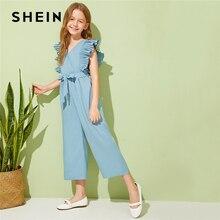 SHEIN Kiddie, v-образный вырез, плиссированные проймы, для отдыха, с поясом, комбинезоны для девочек,, летние, без рукавов, с оборками, широкие, Комбинезоны
