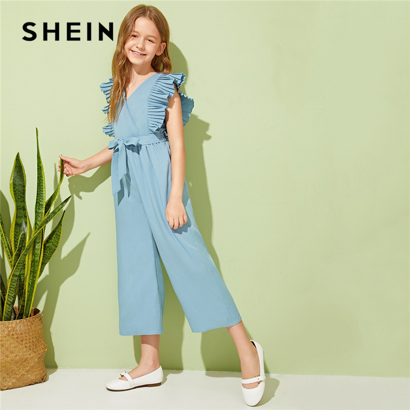 SHEIN Kiddie V Neck Pleated Armhole Vacation Belted Girls Jumpsuits 2019 Summer Sleeveless Wrap Ruffle Wide Leg Jumpsuits