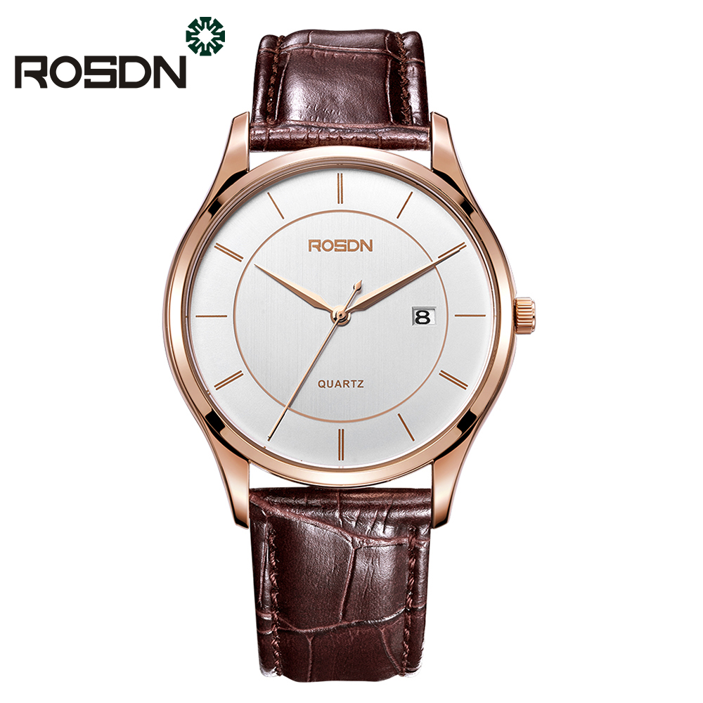 ROSDN Brand Men Watches Classic Leather Ultra thin Wrist Watch for Men Slim Casual Fashion Watch Calendar 50M waterproof Relogio