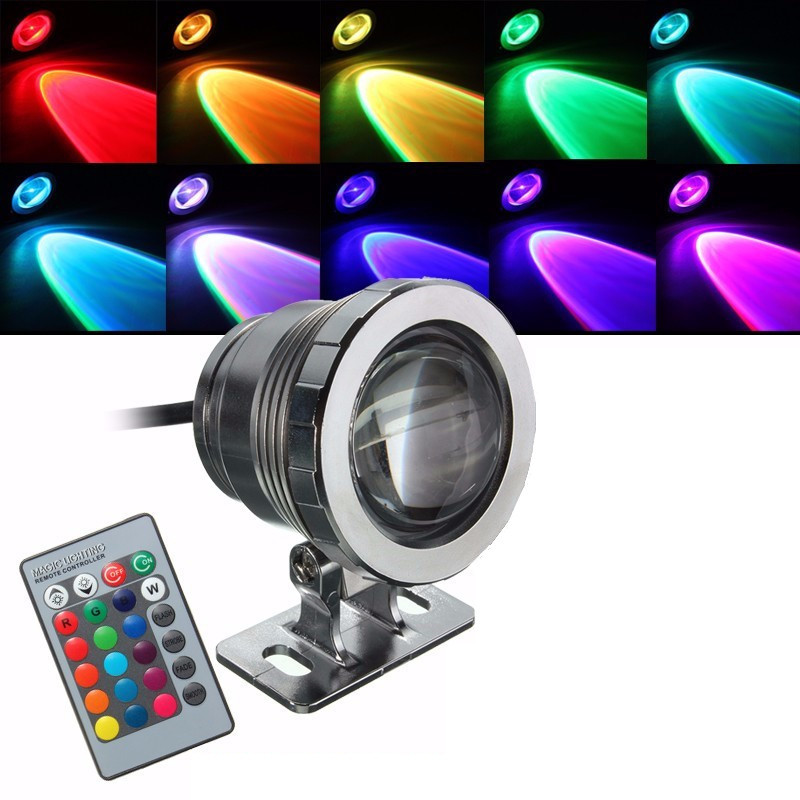 Underwater Light Waterproof 5W RGB LED Light Fountain Pool Pond Spotlight Underwater Lamp With Remote Control AC 85-265V/DC 12V