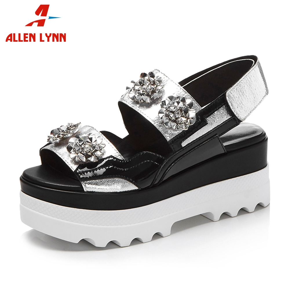 ALLENLYNN 2019 Summer Brand Fashion Genuine Leather Sandals Women Bling Crystal Thick Platform High Wedges Casual Shoes WomanALLENLYNN 2019 Summer Brand Fashion Genuine Leather Sandals Women Bling Crystal Thick Platform High Wedges Casual Shoes Woman