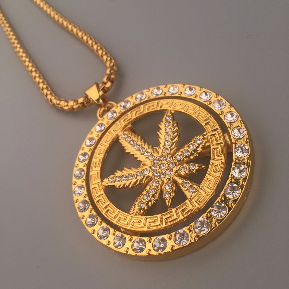 New 24K Golden Iced Out Bling rotate Weed Leaf Charm Hip Hop Men Jewelry Weed Rhinestone