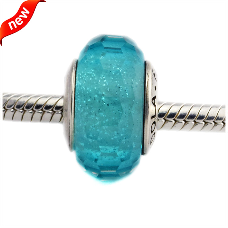 DIY Fits Brand Bracelet Charms 925 Sterling Silver Beads for Jewelry Making Teal Shimmer Murano Glass