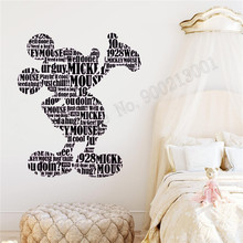 Mickey Mouse Wall Sticker Vinyl Art Removeable Poster Beauty Cartoon For Kidsroom Babyroom Ornament Fashion Decals LY999