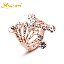 Ajojewel Size 6-9 Fashion Female White Color Crystal Ring Hand Jewelry Unique Style Brand