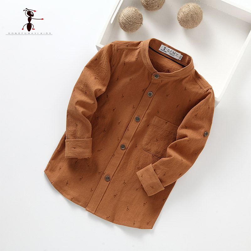 Kung Fu Ant 2018 Brown Long Sleeve Shirt Spring Autumn Turn Down Collar Blouses Cotton Clothing for Kids 2384 classic turn down collar long sleeve yellow and black plaid shirt for men