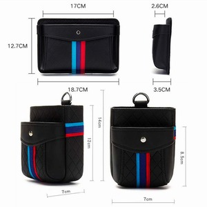 Image 5 - Storage Bag Air Outlet Vent Hanging Box Phone Holder Trash Box Organizer Pouch for BMW PU Black Car Interior Accessories