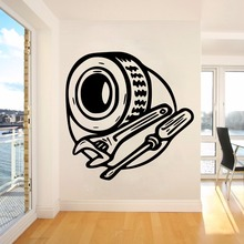 Mechanic Automotive Service Wall Sticker Vinyl Removable Art Mural includeCar Window Tire Wrench and Screwdriver W441