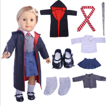 18 inch American Girl Doll Windbreaker shoes wand Harry Potter cosplay Suit 45CM doll Accessories Children