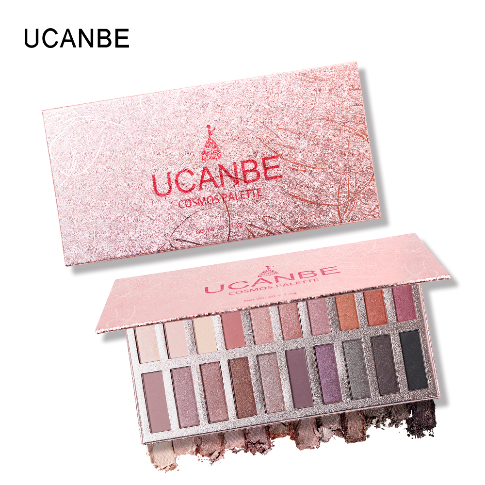 UCANBE 20 Colors Shimmer Ultra-Smooth Matte Metallics Eyeshadow Palette High Pigmented Rosy Powder Makeup Natural Nude Eyeshadow
