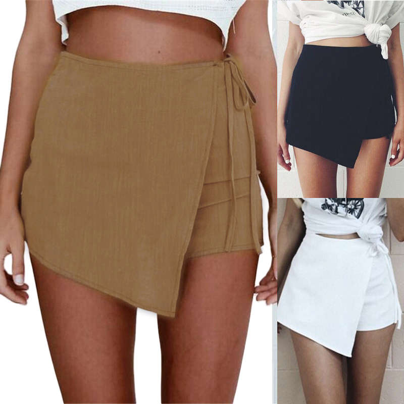 Summer Women Solid Shorts Loose Casual Short Slim High Waist Zipper Back Irregular Skirt Shorts OL Clothes QL Sale
