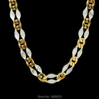 Mens Chain Link Necklace Two Tone18K Gold Silver Plated Women Jewelry Birthday Best Gift Free Shipping