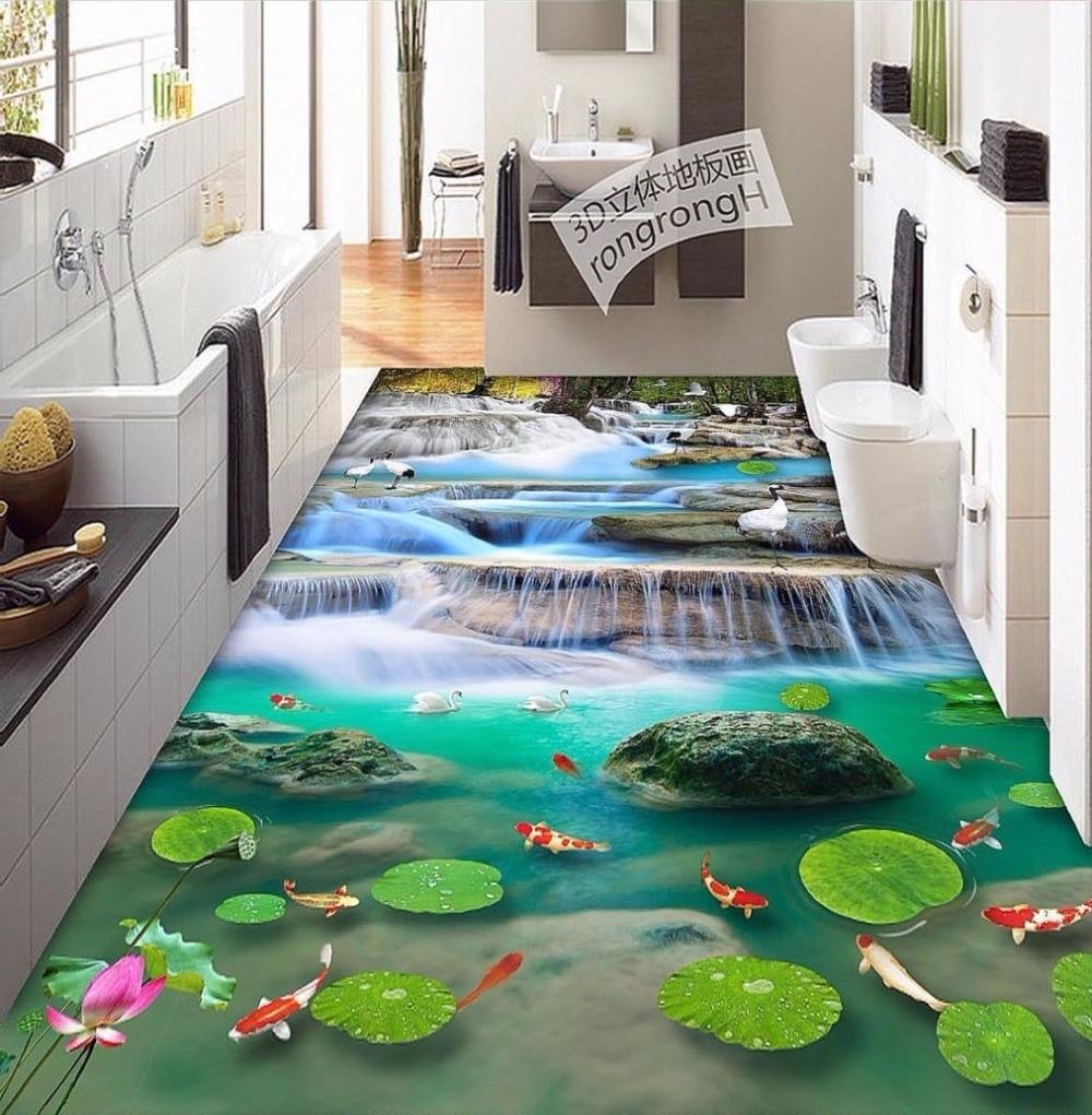 Free Shipping lotus flower carp Cranes 3D floor tiles wear non-slip moisture proof bedroom bathroom flooring wallpaper mural 5gbp s new elbow design left