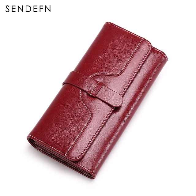 SENDEFN High Quality Women Wallet Button Wallet Women Large Capacity Vintage Ladies Wallets For iPhone 7S Trend 5160-67