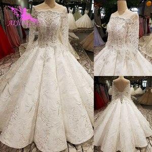 Image 2 - AIJINGYU pakistanlı gelinlik modelleri dikmek kristal boncuklar uygun elbise mağazaları gelinlik dantel