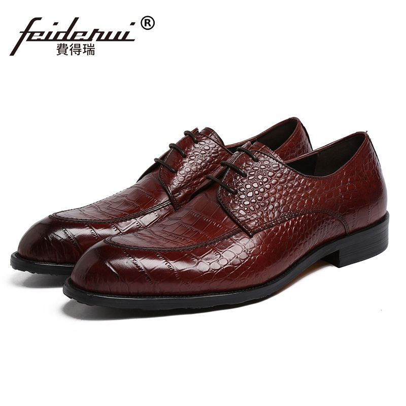 Round Toe Derby Formal Man Dress Flats Shoes Genuine Leather Crocodile Office Oxfords Luxury Brand Men's Bridal Footwear PF78 2017 fashion italian luxury brand formal mens dress shoes genuine leather wedding shoes crocodile men flats office oxfords shoes