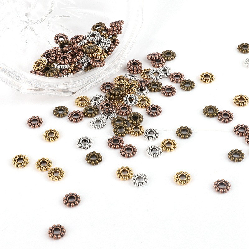 500PCS Metal Spacers Gold/Silver 6mm Snowflake Spacer Beads Accessories For Women Men Beadwork Jewelry Bracelet Necklace Making