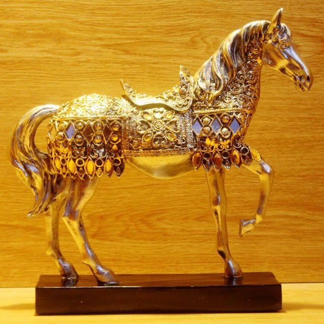 ERMAKOVA Modern Creative Resin Golden Walking Horse Figurine Statue Animal Sculpture Home Office Desktop Decoration Gift 6