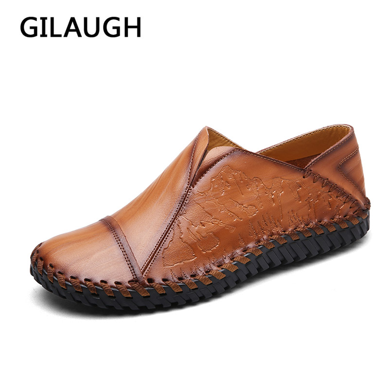 GILAUGH Brand Fashion Spring and Autumn Style Moccasins High Quality Leather Shoes Men Flats Casual Driving Men shoes high tech and fashion electric product shell plastic mold