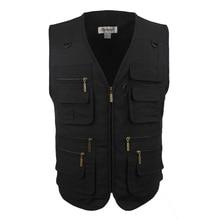 Men Vest Outdoors Sleeveless Jacket Vest With Many Pockets V-Neck Waistcoat Plus Large Size 10XL Travel Coat Fishing Vest