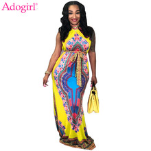 Adogirl 2018 New Ethnic Totem Print Halter Maxi Dress with Belt Turtleneck Sleeveless Long Dashiki Outfit Women Party Dresses(China)