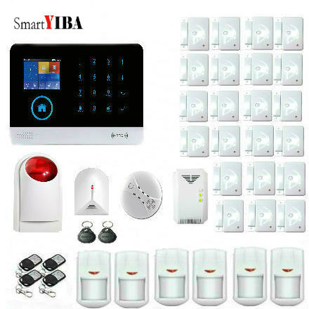 SmartYIBA RFID Touch WIFI Wireless GSM Alarm APP Control Security Protection Alarm System With Glass Break Sensor Gas Leak Alarm yobang security gsm wifi auto dial home alarm system rfid tags intelligent alarma kits glass break sensor strobe siren sensor
