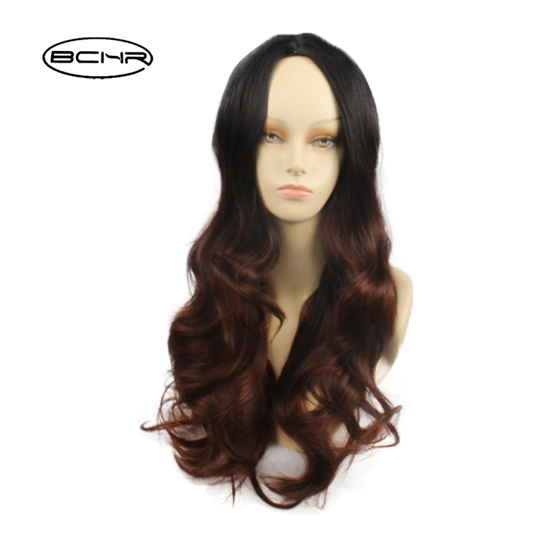 BCHR Product Straight Heat Resistant Wig Brown Long Hair 26 Inch Black And Brown Synthetic Wig Natural Hair