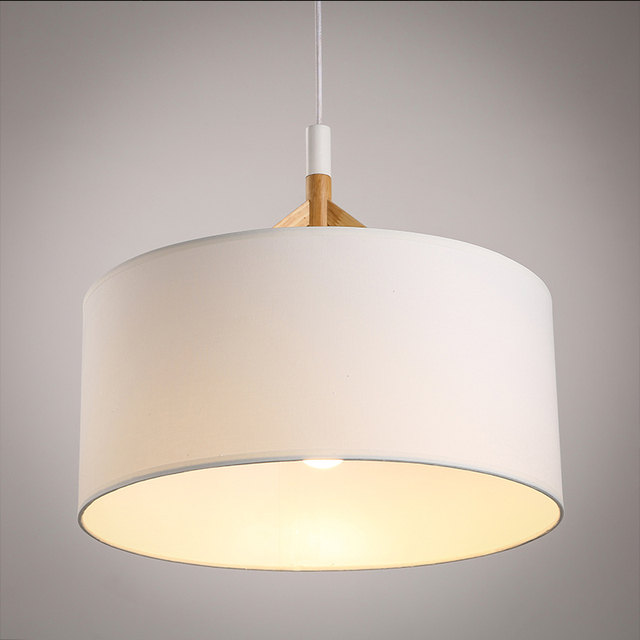 Simple Pendant Light: New Modern Black White Wood Fabric Hanging Light Nordic
