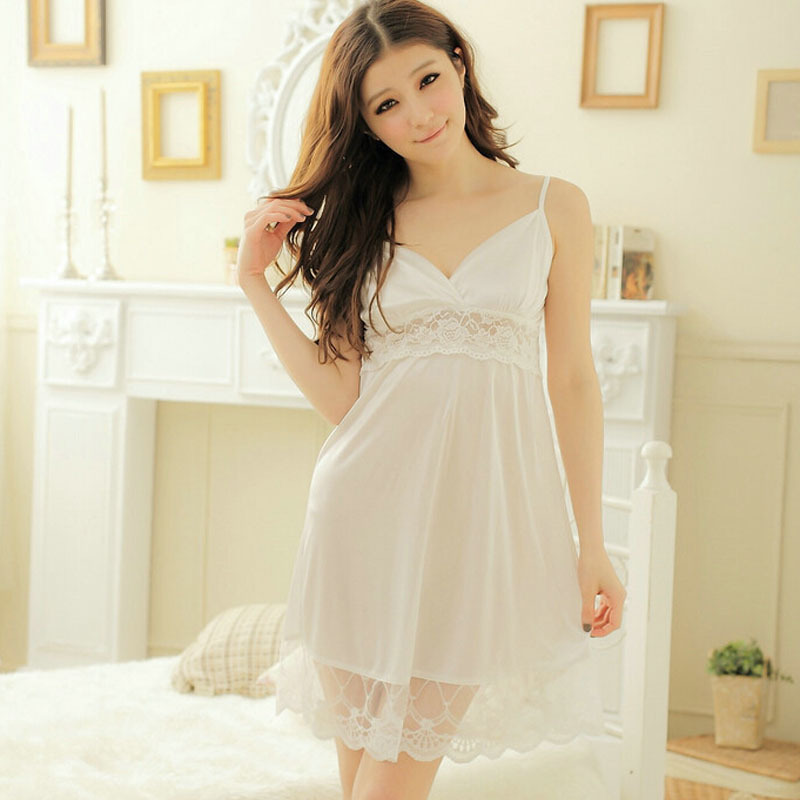 163833345fc Special offer Free shipping women lace sexy nightdress girls White Braces  skirt Sleepwear nightgown Y01 2-in Nightgowns   Sleepshirts from Underwear  ...