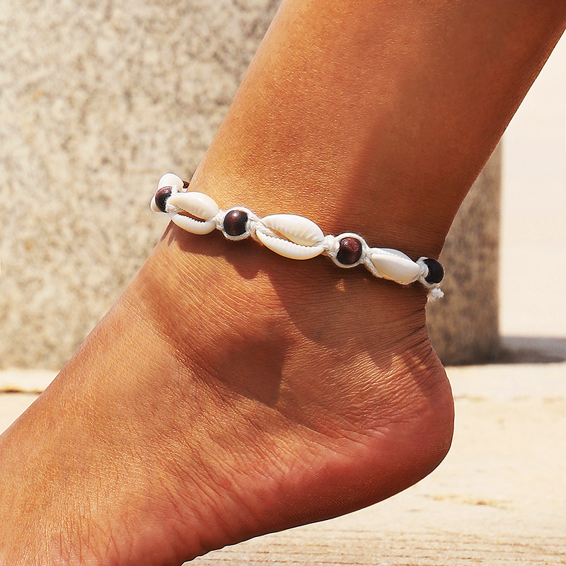 Rope Wood Bead Ankle Bracelet Natural Shell Bohemian Anklet Women Foot Jewelry Summer Beach Holiday Accessories 2104