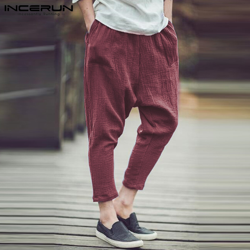 INCERUN Fashion Mens Harem Pants Casual Big Drop HipHop Trousers Retro Style Male Clothes Plus Size S-5XL