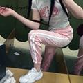 2017 Весна Лето женщин Атласная повседневная Розовый ретро белый шить закрыты удобные тренировочные брюки досуг брюки брюки и capris женщины