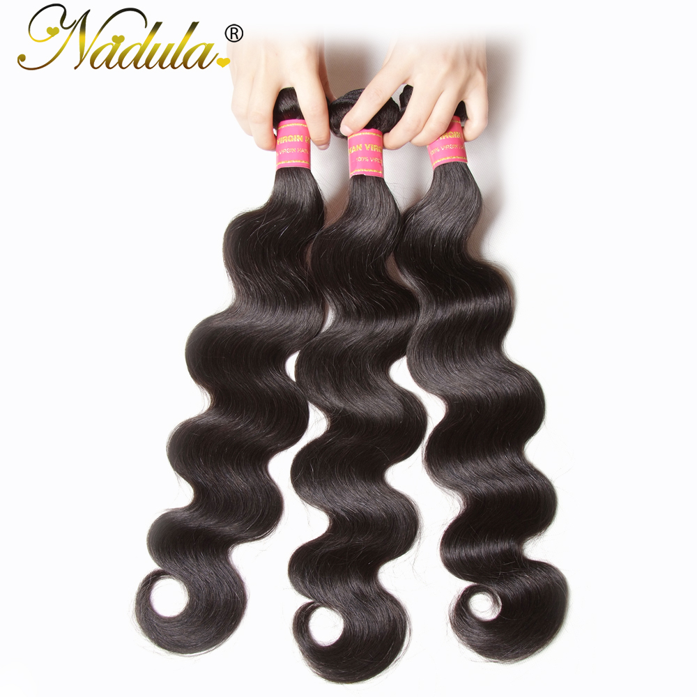 Nadula Hair Unprocessed Brazilian Virgin Hair Body Wave Hair Weft Extension 100% Human Hair Weave Bundles Natural Color