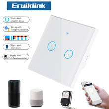 Eruiklink EU Smart Wifi Wall Touch Light Switch 2 Gang Touch/WiFi/433 RF/APP Remote Smart Home Controller Work with Alexa sonoff eu smart wifi wall touch light switch 1 2 gang touch wifi rf433 app remote smart home controller work with alexa google