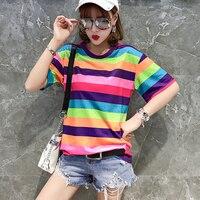 30888f5de Streetwear T camisa mujeres Arco Iris rayas Tops Harajuku camiseta 2019 de  manga corta verano coreano Punk femenina. Streetwear T Shirt Women Rainbow  ...