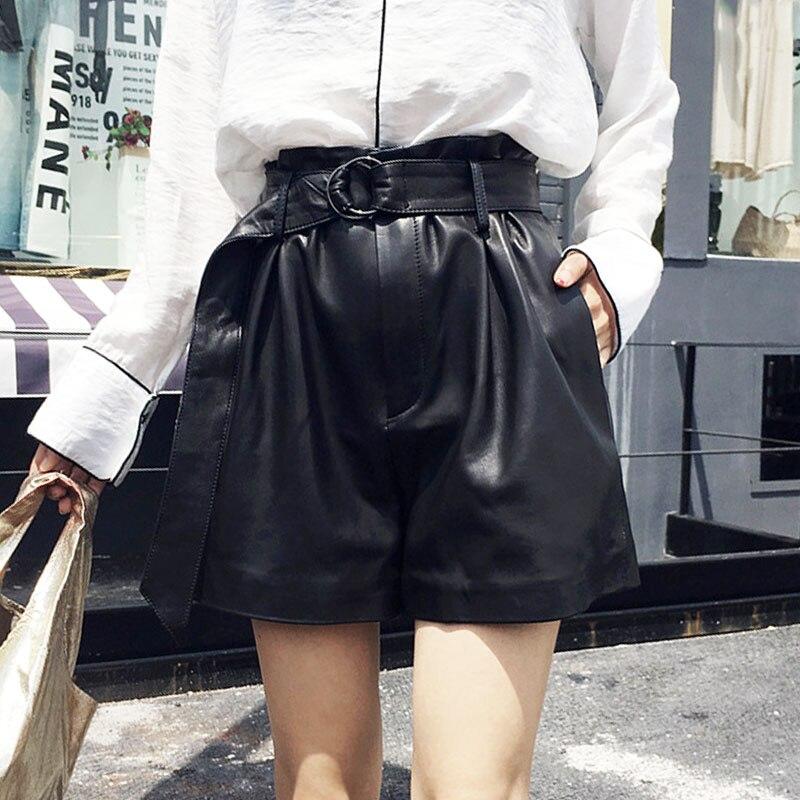 Italian Designer Summer High Waist Shorts Women Punk Belted Loose Wide Leg Short Feminino Luxury Sheepskin