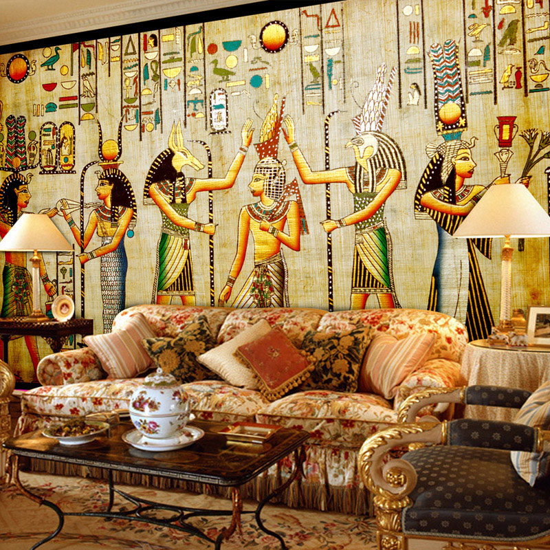 цена Custom Wall Mural Wallpaper Egyptian Figures Large Wall Murals Living Room Restaurant Bedroom Home Decor Wall Paper Classic 3D онлайн в 2017 году