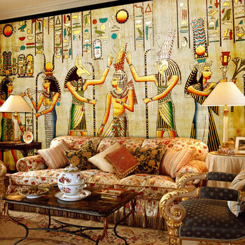 Custom Wall Mural Wallpaper Egyptian Figures Large Wall Murals Living Room Restaurant Bedroom Home Decor Wall Paper Classic 3D цена 2017